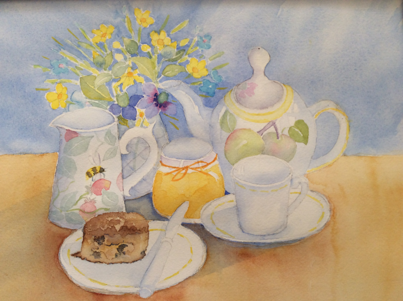 At Home for Tea, watercolour