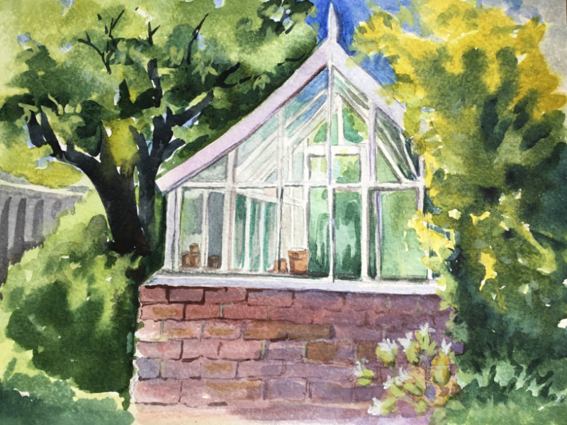 At Home in the Morning, watercolour