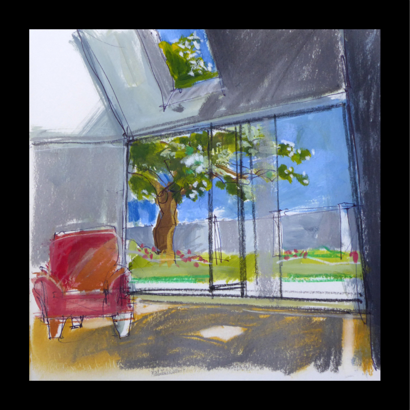 Garden Room, acrylic and pastel