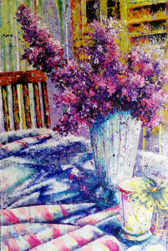 Lilacs from the Garden, Mixed Media