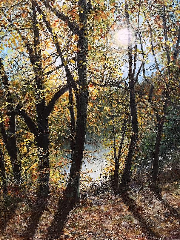 The Lake at Minsterworth, mixed media