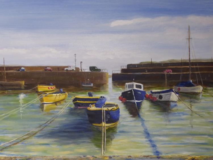 Mousehole Harbour, oil