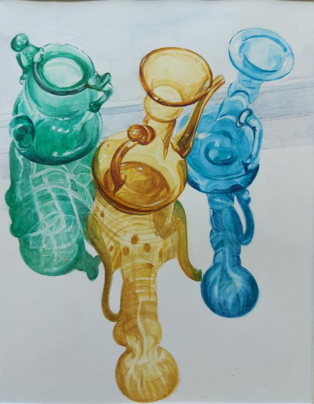 Sunlit Reflections, watercolour