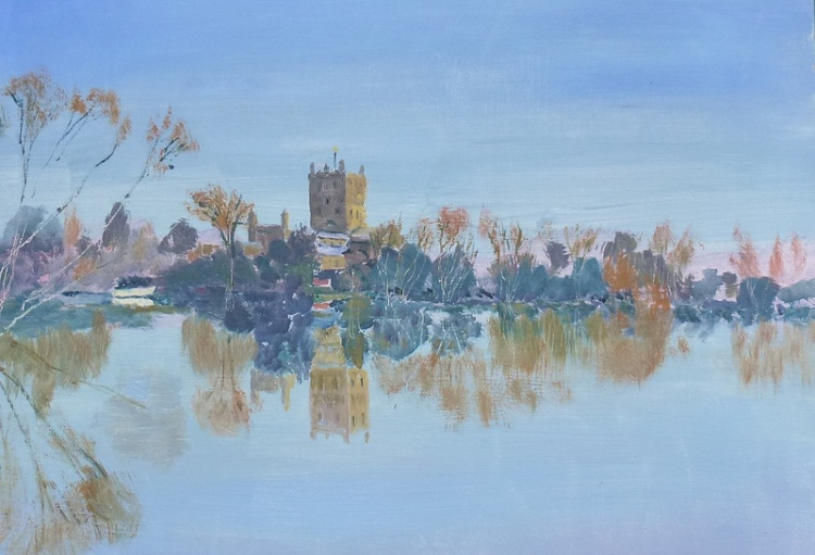 Tewkesbury Abbey after the flood, oil
