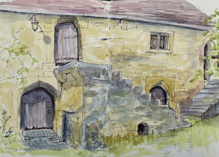 Jane Few, The Stables at Whittington Court, pen and wash