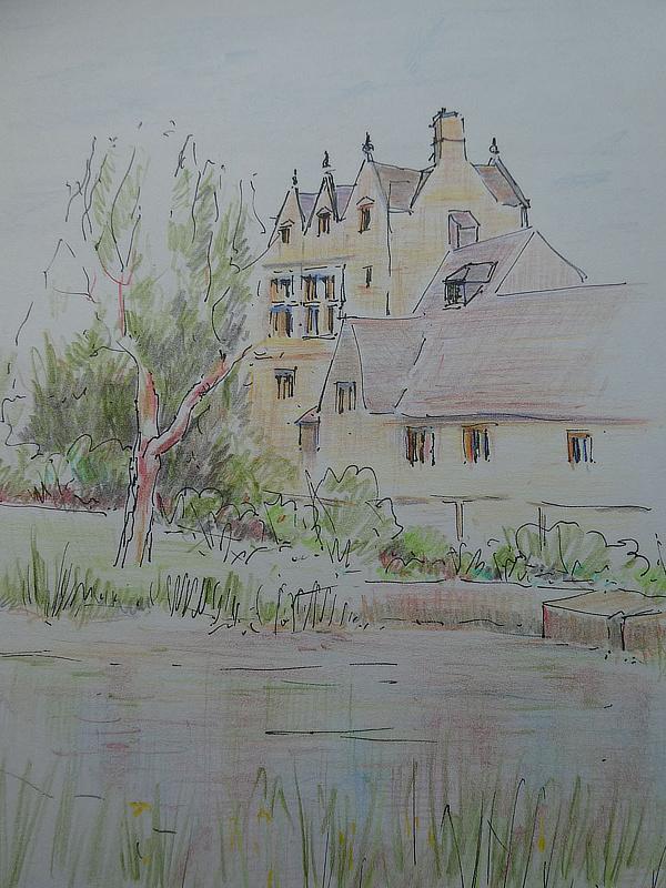 Ros Stanley, Whittington Court, pen and coloured pencils