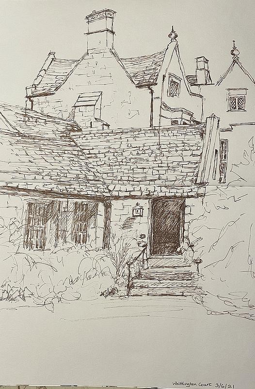 Jane Few, Back Door at Whittington Court, pen